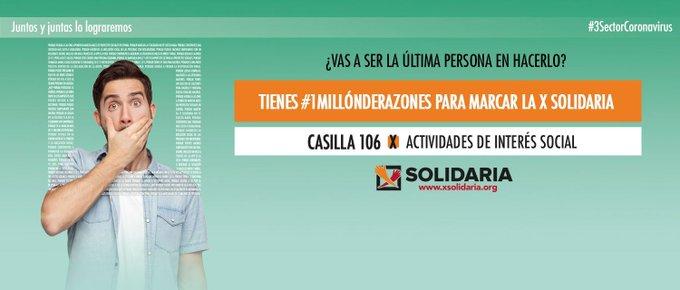 Marca la «X Solidaria» en la declaración de la renta